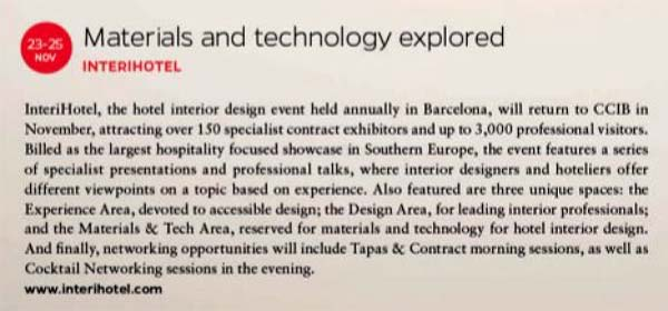 "Sleeper – Sep./Oct. – ad and event: ""InteriHOTEL: Materials and technology explored"""
